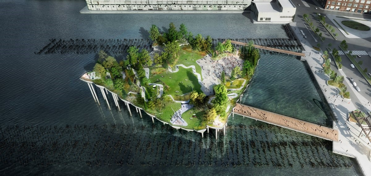 The billionaire couple has partnered with the Hudson River Park Trust to build the 2.7-acre square-shaped pier and community art space to replace the deteriorating Pier 54